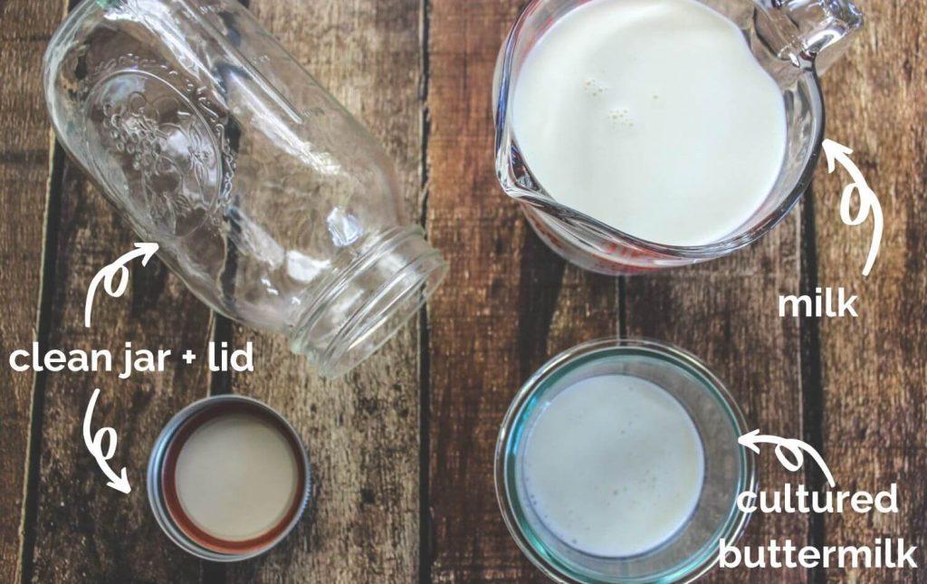 Ingredients to make buttermilk.