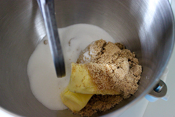 Butter, brown sugar, and granulated sugar in mixing bowl.