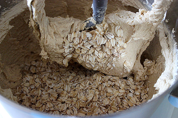 Old-fashioned oats added to cookie dough.