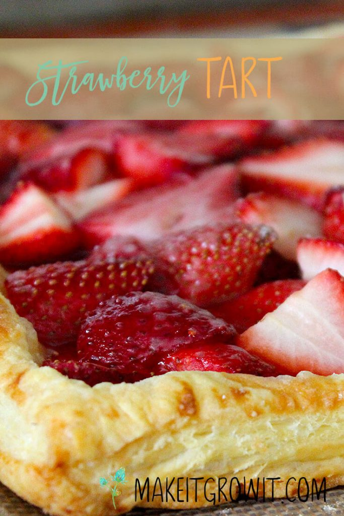 Super quick and easy strawberry tart with homemade whipped cream and a puff pastry crust. Pin it to save this recipe for later!