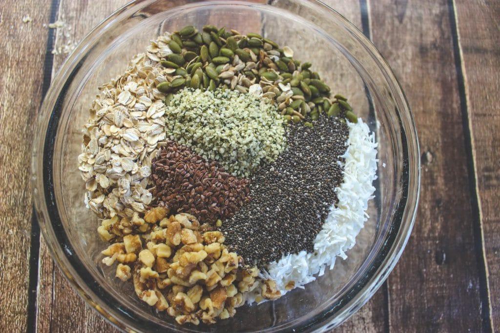 Muesli ingredients in a bowl before stirring.