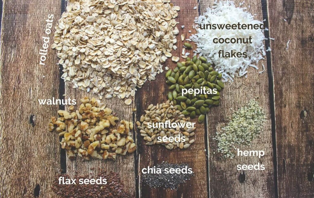My basic muesli mix ingredients: rolled oats, unsweetened coconut flakes, walnuts, pepitas, sunflower seeds, hemp seeds, chia seeds, and flax seeds.