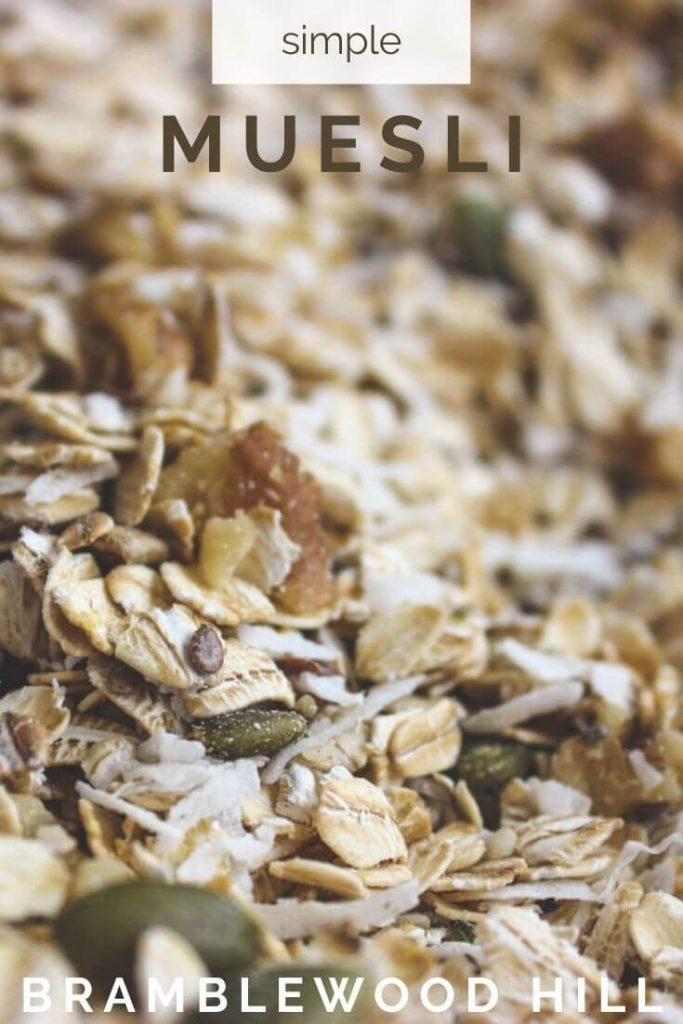 Muesli is a nutritious breakfast full of fiber and without any added sugar. This quick and easy recipe makes up a big batch in no time.